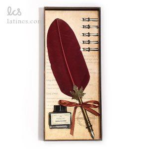 ست کالیگرافی قلم پر بوقلمون قرمز