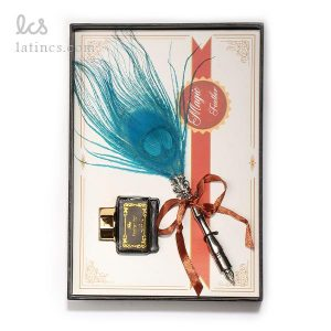 ست کالیگرافی قلم پر طاووس آبی