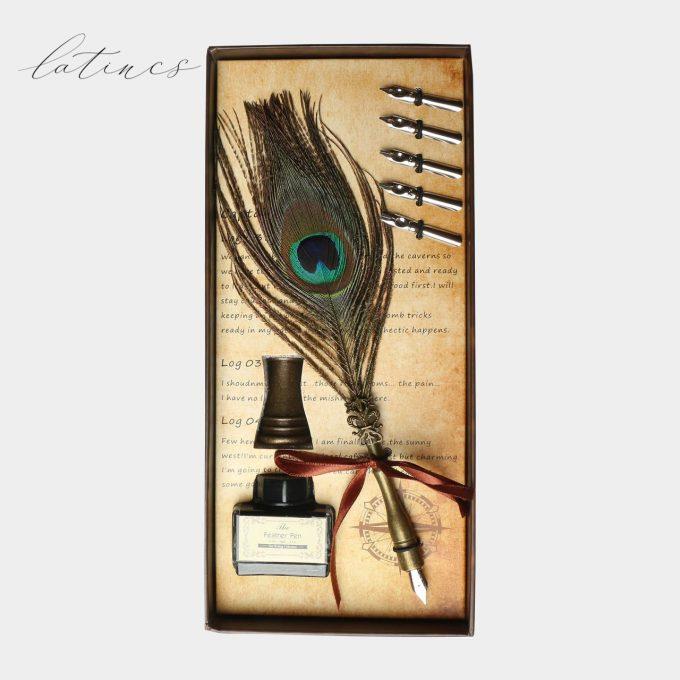 ست کالیگرافی قلم پر طاووس + پایه