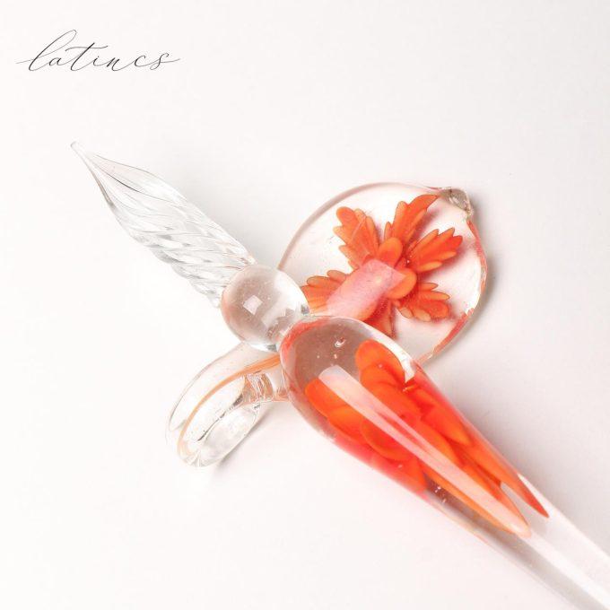 قلم شیشه ای گل نارنجی